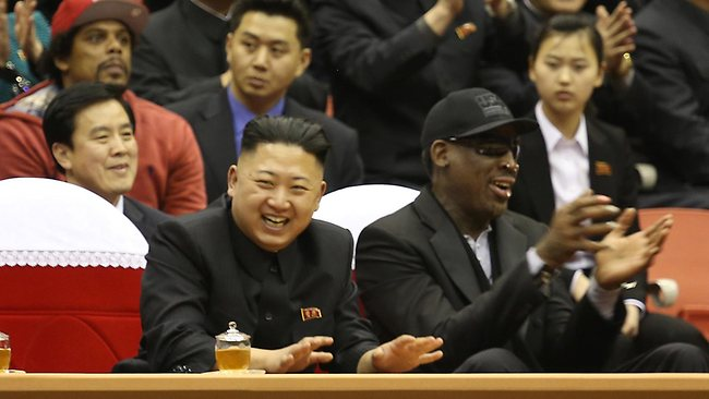 Kim Jong Un and former NBA star Dennis Rodman watch North Korean and US players in an exhibition basketball game in Pyongyang, North Korea.