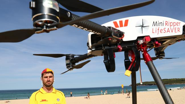 Surf Life Saving drone Little Ripper undergoing a test on Sydney's Maroubra beach. In barely a month, it would save two lives. Picture: Renee Nowytarger.