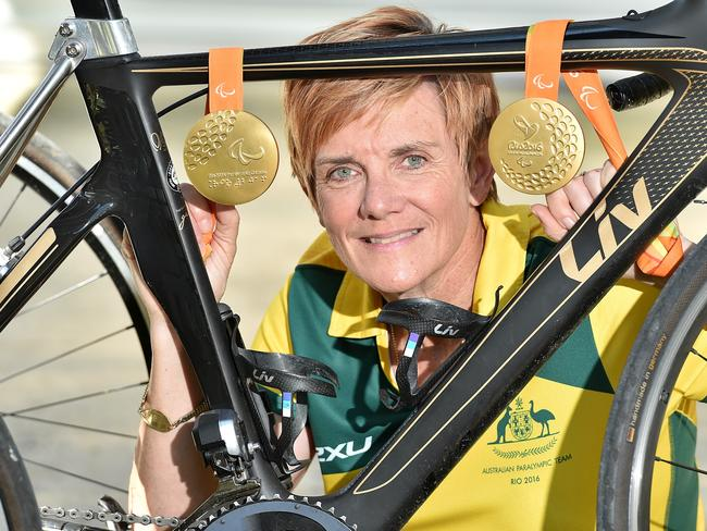 Australian Paralympic gold medallist Carol Cooke with her medals from Rio.