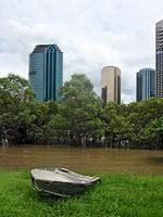 <p>Jan 13: A row boat has been left high and dry at Kangaroo Point. Reader picture: Jane Pettigrew</p>