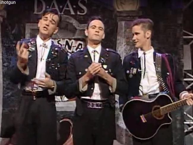 Tim Ferguson (left) with the Doug Anthony Allstars on the Big Gig comedy show on ABC-TV in the 1990s.