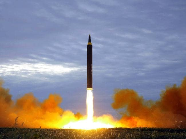 The test launch of a Hwasong-12 intermediate range missile in Pyongyang, North Korea. Picture: AP
