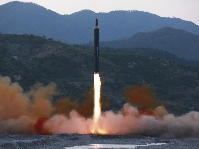North Korea has sparked global condemnation with its intercontinental ballistic missile tests. Picture: Korean Central News Agency/AP