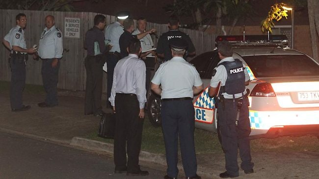 Police at the scene of a shooting in Denison Court, Capalaba, in Brisbane. Picture: Adam Smith.