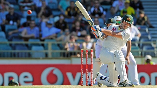 Mitchell Starc hits a delivery from Dean Elgar on his way to a rapid-fire half century at the WACA Ground. Picture: Daniel Wilkins