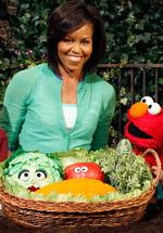 <p>First Lady Michelle Obama visits the Sesame Street set for a taping of a Public Service Announcement with Elmo as part of Sesame Workshop's Healthy Habits For Life initiative, in New York 05/05/2009.</p>