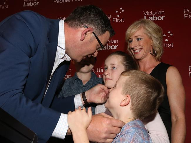 "Daniel Andrews thanks his family: ""my everything"". Picture: Alex Coppel."