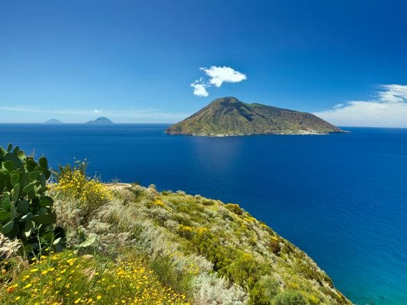 View from Lipari island on Salina, Filicudi and Alicudi islands.