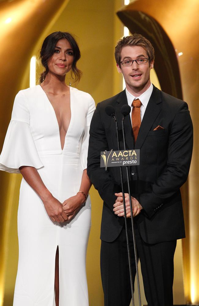 Pia Miller and Kyle Pryor during the 5th AACTA Awards Presented by Presto at The Star on December 9, 2015 in Sydney, Australia. Picture: Getty