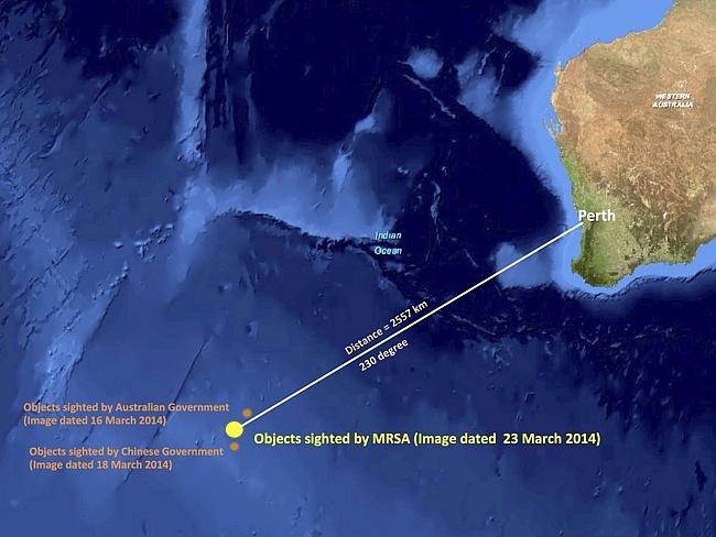 New leads ... this graphic released by the Malaysian Remote Sensing Agency shows the approximate position of objects seen floating in the southern Indian Ocean in the search zone.