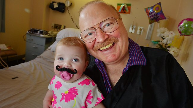 Bert Newton with his granddaughter, Lola, at Epworth Hospital. Picture: Alex Coppel