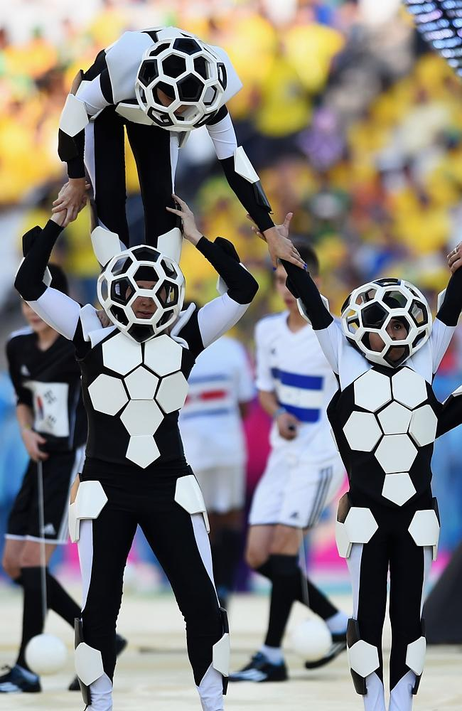 Artists perform during the Opening Ceremony of the 2014 FIFA World Cup Brazil. Picture: Getty