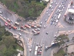 A aerial shot of the horror truck smash at the bottom of the freeway. Picture: Ten Eyewitness News chopper