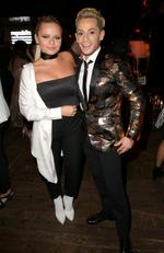 Australian Singer Alli Simpson (L) and Internet personality Frankie Grande attend the Republic Records Grammy Celebration presented by Chromecast Audio at Hyde on Sunset. Picture: Imeh Akpanudosen/Getty Images for Republic Records