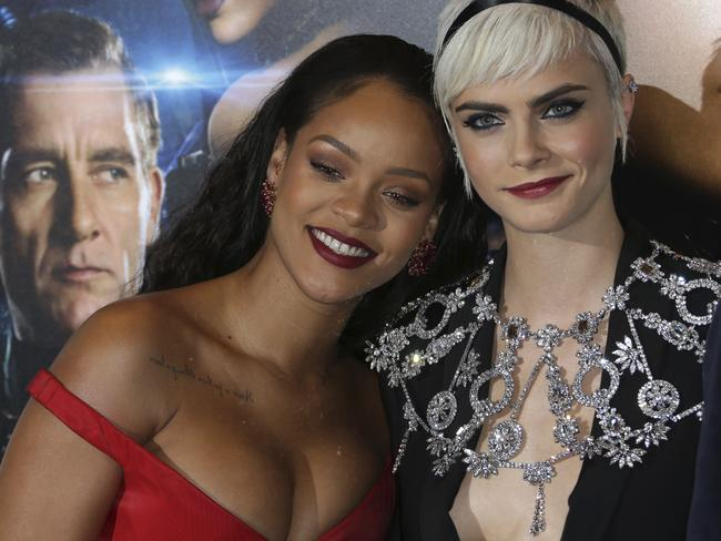 Co-stars Rihanna and Cara Delevingne. Picture: AP