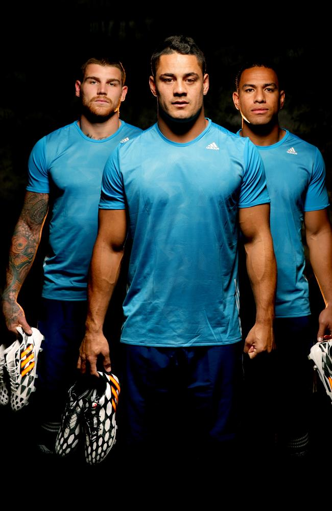 NSW Origin stars Josh Dugan, Jarryd Hayne and Will Hopoate. Picture Gregg Porteous