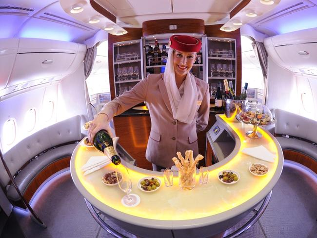Hard to say no to Emirates' Business Class 'lounge' bar.