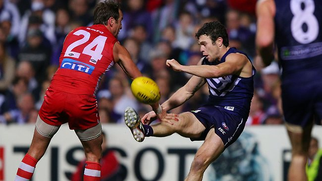 Fremantle forward Hayden Ballantyne 1.2 in the win over Sydney. Picture: Getty