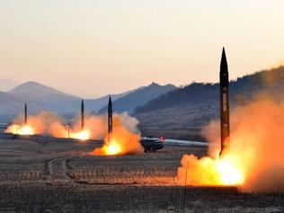 "TOPSHOT - This undated picture released by North Korea's Korean Central News Agency (KCNA) via KNS on March 7, 2017 shows the launch of four ballistic missiles by the Korean People's Army (KPA) during a military drill at an undisclosed location in North Korea. Nuclear-armed North Korea launched four ballistic missiles on March 6 in another challenge to President Donald Trump, with three landing provocatively close to America's ally Japan. / AFP PHOTO / KCNA VIA KNS / STR / South Korea OUT / REPUBLIC OF KOREA OUT ---EDITORS NOTE--- RESTRICTED TO EDITORIAL USE - MANDATORY CREDIT ""AFP PHOTO/KCNA VIA KNS"" - NO MARKETING NO ADVERTISING CAMPAIGNS - DISTRIBUTED AS A SERVICE TO CLIENTS THIS PICTURE WAS MADE AVAILABLE BY A THIRD PARTY. AFP CAN NOT INDEPENDENTLY VERIFY THE AUTHENTICITY, LOCATION, DATE AND CONTENT OF THIS IMAGE. THIS PHOTO IS DISTRIBUTED EXACTLY AS RECEIVED BY AFP. /"