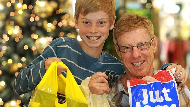 Andy Rooke and son Tasman popped into Doncaster Shoppingtown for some last minute Christmas shopping. Photo: Janine Eastgate