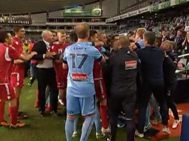 Free for all after ball boy tackled in FFA Cup final.