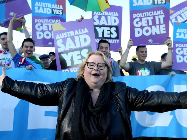 Marriage Equality Ambassadors Magda Szubanski, on the lawns of Parliament House in Canberra. Picture Kym Smith