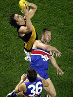 It's not every day Bulldogs great Chris Grant is used as the step ladder. Richardson in full flight...again. Picture: Herald Sun
