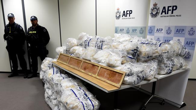The drugs on display at the media conference this morning. Picture: Nicole Garmston