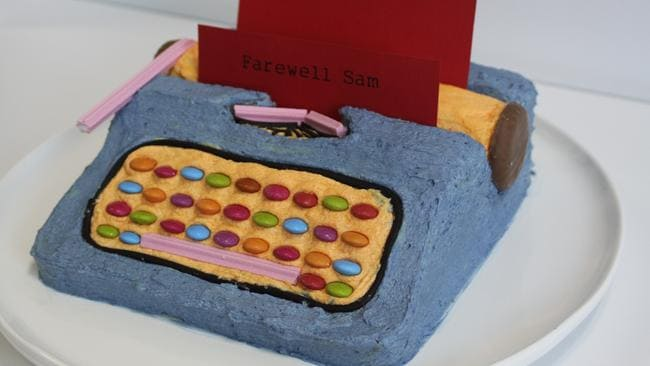 Josh Earl has baked the typewriter cake over 50 times! Photo: Felicity Glennie-Holmes