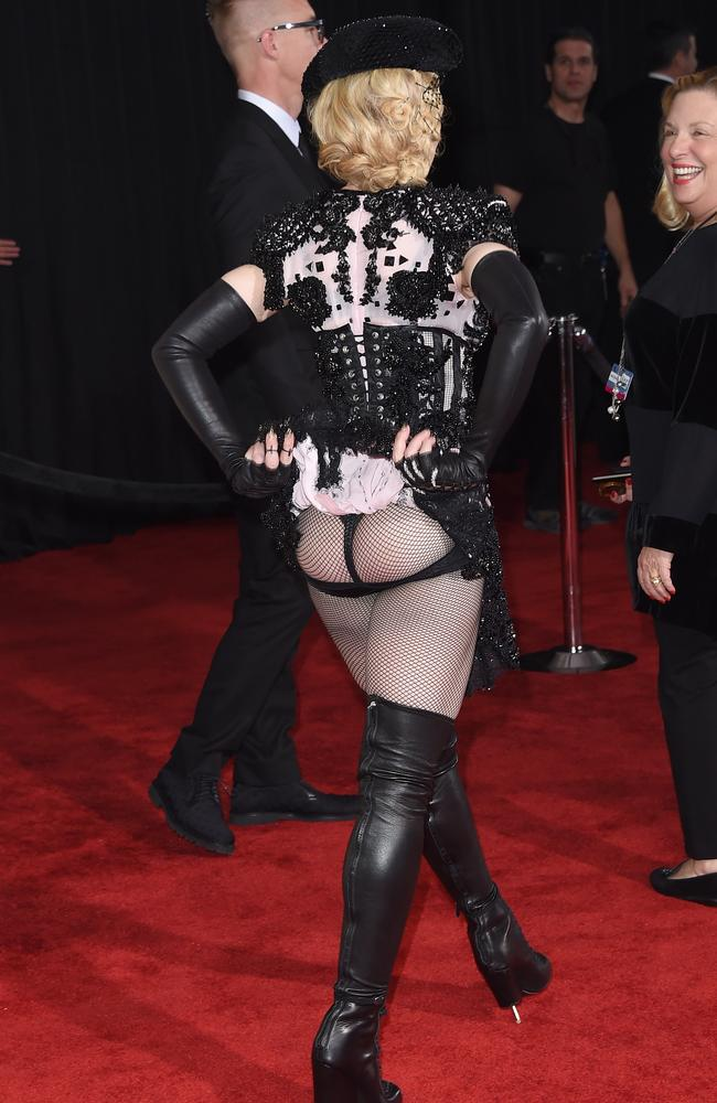 Party girl ... Madonna flashed her derrière at the Grammys last year. Picture: Jason Merritt/Getty Images