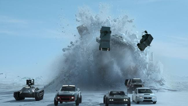 Cars versus nuclear submarine? It could only be a fair fight in a Fast & Furious movie. Picture: Universal Pictures