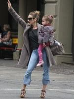 <p>Sarah Jessica Parker has a Carrie moment (minus the toddler) out in New York while hailing a cab on her way to celebrate her 47th birthday. Picture: Snappermedia</p>