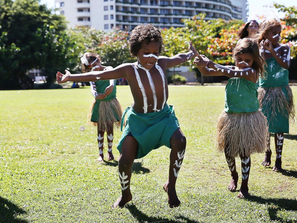 The Gimuy Fish Festival ran in conjunction with the final day of the Cairns Indigenous Art Fair (CIAF) at the Cairns Cruise Liner Terminal. Vaughn Richards performs a traditional dance with other children from Yarrabah. Picture: BRENDAN RADKE