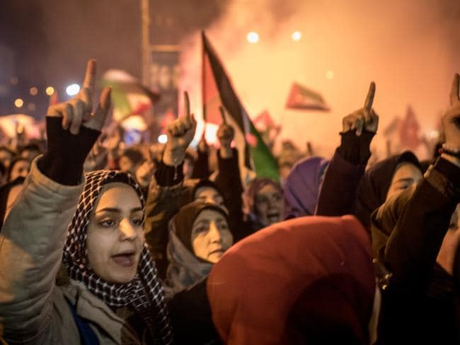 Protesters outside the U.S. Consulate in Istanbul, Turkey. Picture: Getty