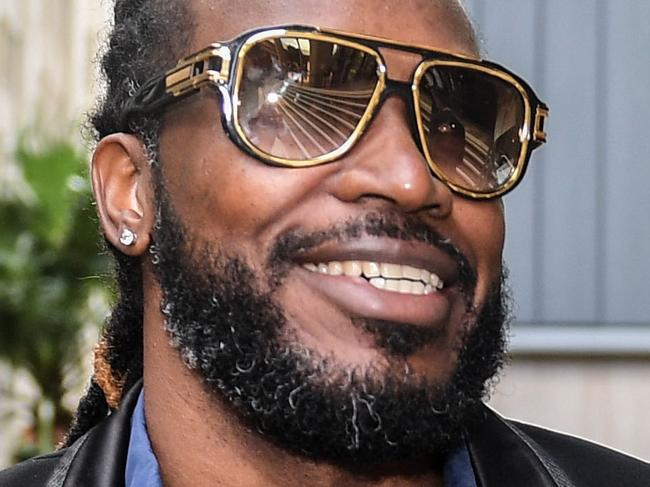 West Indies' Cricket player Chris Gayle arrives at the NSW Supreme Court in Sydney, Monday, October 23, 2017. Gayle, alleges Fairfax Media wrongly suggested the cricketer had exposed himself to a woman. (AAP Image/Brendan Esposito) NO ARCHIVING