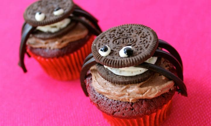 "17. Oreo spider cupcakes  <p>The only thing better than a cupcake is a cupcake with an Oreo on top of it.</p> <p><a href=""http://www.kidspot.com.au/kitchen/recipes/oreo-spider-cupcakes-3557"">Find the Oreo spider cupcakes recipe here.</a></p>"
