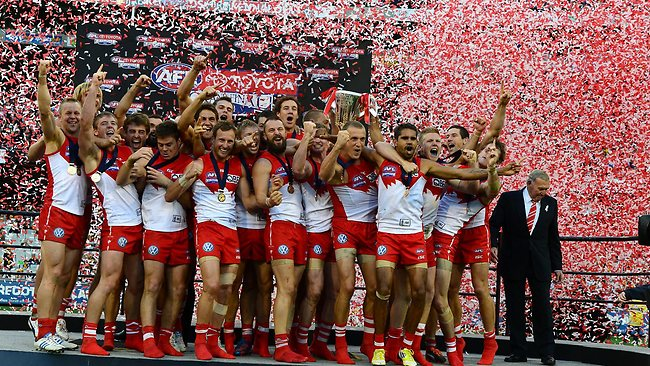 The Sydney Swans victorious after the AFL Grand Final 2012. Picture: Wayne Ludbey