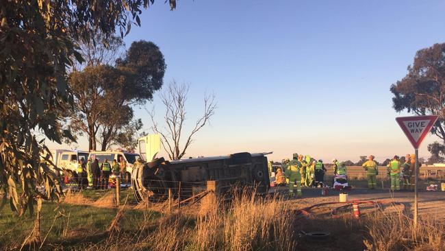 Emergency services work to treat those injured in the crash at Ardmona. Picture: ABC News/Will Kendrew.