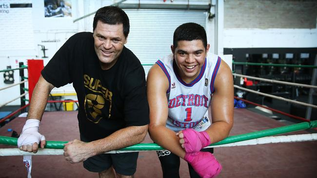 Kali Meehan and his son Willis at Allsorts boxing gym.