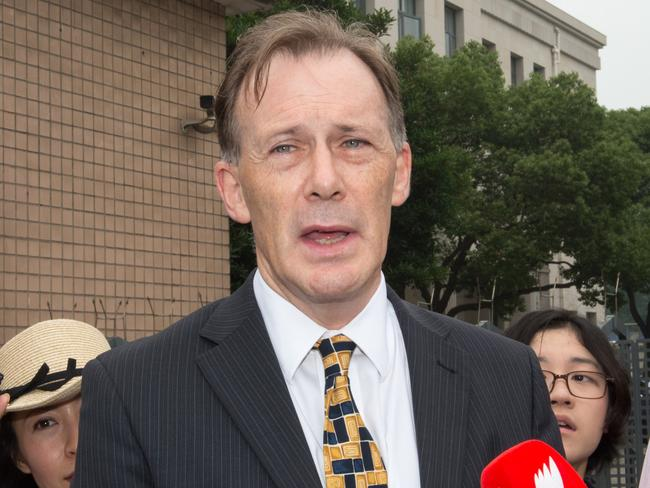 Graeme Meehan, Consul-General of Australia in Shanghai, gives a statement after leaving last month. Crown Casino court case. Picture: Supplied