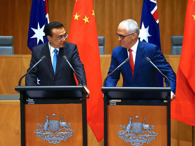 Chinese Premier Li Keqiang promised Malcolm Turnbull the islands wouldn't be militarised when he visited Australia last week. Picture: David Gray