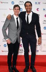 Alex Dyson and Matt Okine arrives on the red carpet for the 30th Annual ARIA Awards 2016 at The Star on November 23, 2016 in Sydney, Australia. Picture: AAP