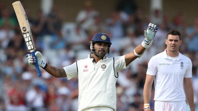 Murali Vijay celebrates his century.