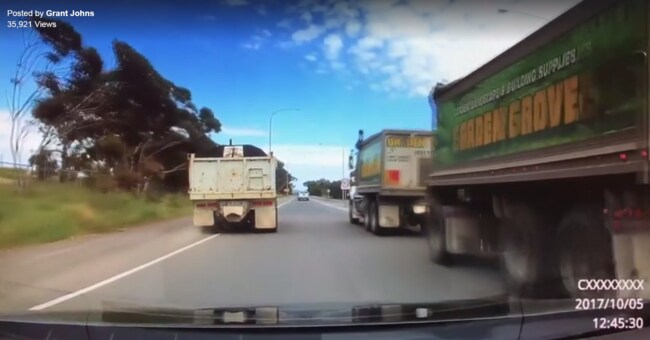 Adelaide trucking company garden grove defends apparent near miss caught on dashcam as a safe Garden grove breaking news now