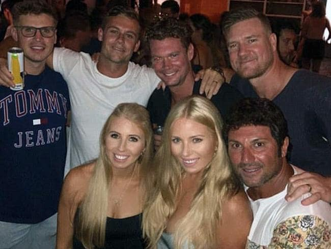 MAFS cast: Ryan, Justin, Dean, Ashley and Nasser pose with two fans.