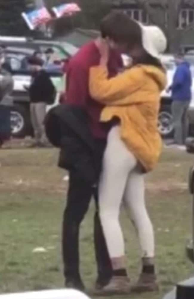 Malia Obama was spotted kissing Farquharson at a Harvard football game. Picture: TMZ