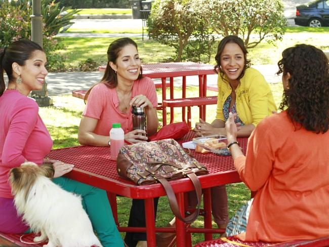 Roselyn Sanchez, Ana Ortiz, Dania Ramirez and Judy Reyes in a scene from  <i>Devious Maids</i>.