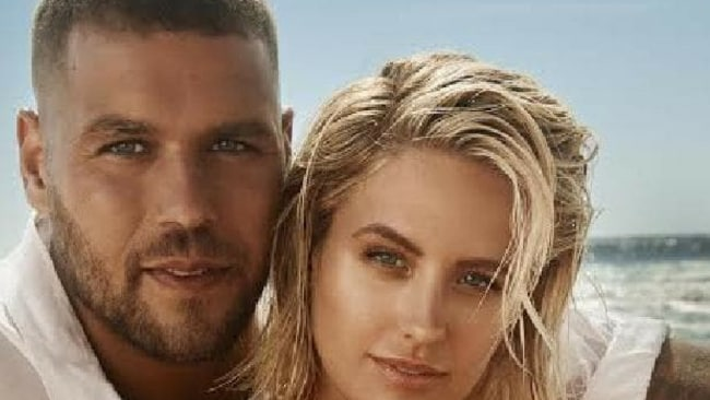 Jesinta and Buddy Franklin: 'You have to face the storm together'. Picture: Georges Antoni.Source:Supplied