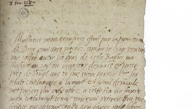 Six hours before she was beheaded on the order of her cousin, Elizabeth I, Mary Queen of Scots writes in French to inform her brother.