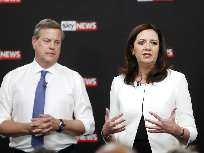 LNP leader Tim Nicholls was tripped up a couple of times during the debate with Premier Annastacia Palaszczuk. Picture: Josh Woning/AAP